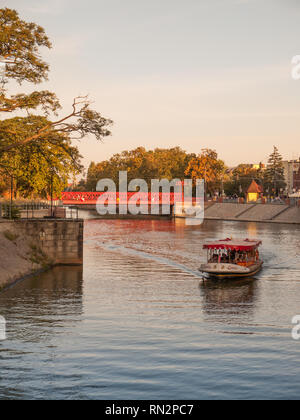 Tour boat on the River Oder in Wroclaw, Poland. - Stock Photo