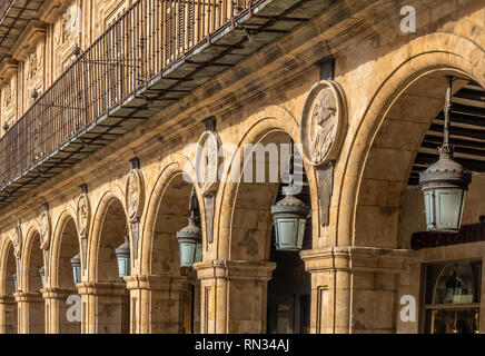 The Plaza Mayor, Salamanca, Castile-Leon, Spain. A public square. built in the traditional Spanish baroque style and  a popular gathering area. One of