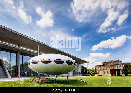 The 'Das Futuro-Haus' (Futuro house), a round, prefabricated house designed by Matti Suuronen, Pinakothek der Moderne, Munich, Germany. - Stock Photo
