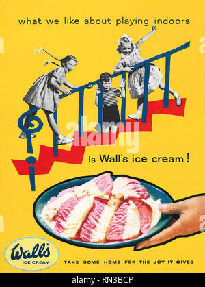 1957 British advertisement for Wall's ice cream. - Stock Photo