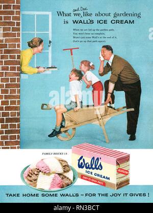 1957 British advertisement for Wall's Neapolitan ice cream. - Stock Photo