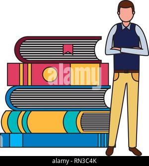 man with books stacked - Stock Photo