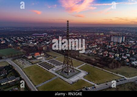 Wooden radio tower in Gliwice, Silesia, Poland. The tower is the tallest wooden structure in Europe - Stock Photo