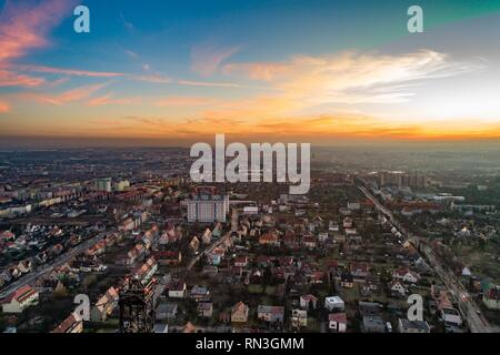 Aerial drone view over wooden radio tower in Gliwice, Silesia, Poland. The tower is the tallest wooden structure in Europe. - Stock Photo