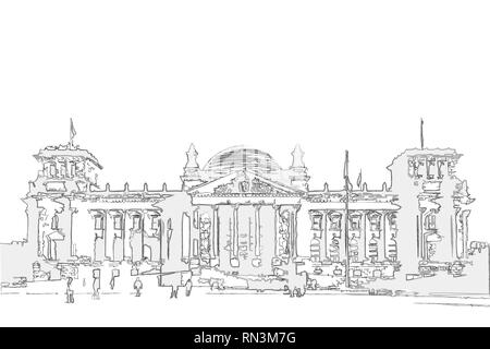 sketch / illustration of the Reichstag (Bundestag) building in Berlin - Stock Photo