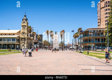 31st December 2018 , Glenelg Adelaide South Australia : Glenelg Moseley square view from the jetty with the Pioneer Memorial monument in the middle in - Stock Photo