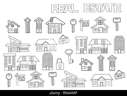 Hand drawn real estate set. Coloring book page template.  Outline doodle vector illustration. - Stock Photo