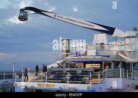 Royal Caribbean mega-cruise ship Quantum of the Seas North Star 360 degree viewing capsule. - Stock Photo