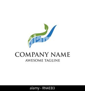 nature hand care logo. abstract hand leaf symbol. vector eps 10. - Stock Photo