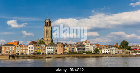 Panorama of Deventer and he IJssel river in The Netherlands - Stock Photo