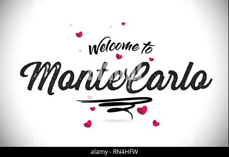 MonteCarlo Welcome To Word Text with Handwritten Font and Pink Heart Shape Design Vector Illustration. - Stock Photo