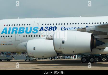 France, Seine Saint denis (93), Paris-Le Bourget airport, International Paris Air Show 2009, Airbus A380 with Rolls Royce Trent 900 motors - Stock Photo