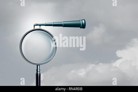 Long term outlook and business success forecasting seeking opportunity far away as a businessman on a magnifying glass looking through a telescope. - Stock Photo