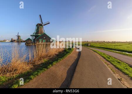 Rotterdam Netherlands, Dutch Windmill at Kinderdijk Village - Stock Photo