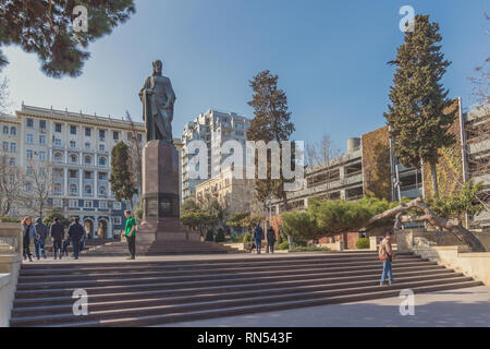 Baku, Azerbaijan,  February 13, 2019. Tourists at the monument to Nizami - Stock Photo