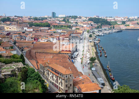 The district of Vila Nova de Gaia on the River Douro in Porto, Portugal, which is home to the city's famous port houses - Stock Photo
