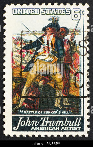 UNITED STATES OF AMERICA - CIRCA 1968: a stamp printed in the United States of America shows Detail from painting The Battle of Bunker's Hill by John  - Stock Photo
