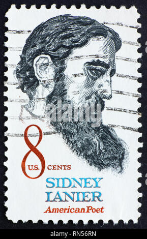 UNITED STATES OF AMERICA - CIRCA 1972: a stamp printed in the United States of America shows Sidney Lanier American poet, circa 1972 - Stock Photo