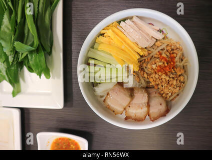 mixed noodle or vietnamese noodle with vegetable - Stock Photo