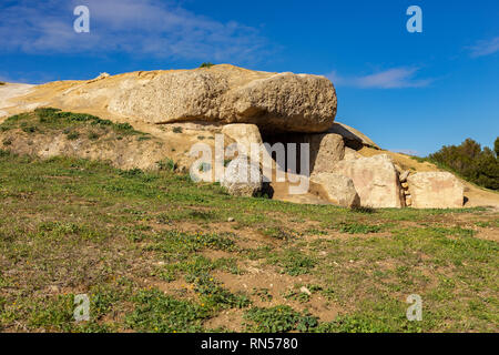The Dolmen de Menga is in the Spanish town of Antequera. It is a covered gallery dolmen and almost rectangular plant, dating from the 3rd millennium B - Stock Photo