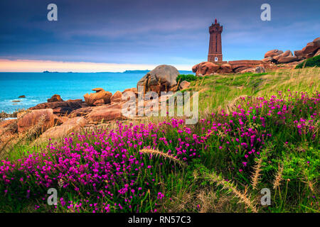 Beautiful stone lighthouse and colorful pink flowers at sunset, Perros Guirec, Bretagne (Brittany region), France, Europe - Stock Photo