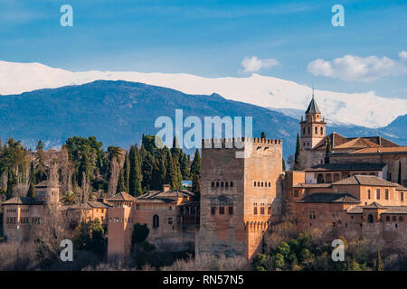 Ancient arabic fortress Alhambra at the beautiful evening time, Granada, Spain. - Stock Photo