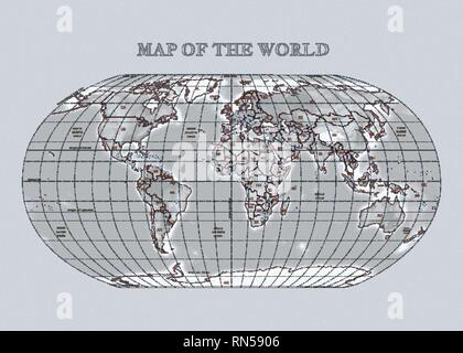 Physical vecror map of the World with outlines, major capitals, grid. Gray background - Stock Photo
