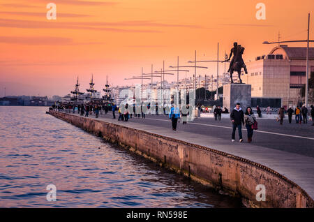 Nikis avenue the central waterfront avenue  in Thessaloniki where situated the statue of Alexander the great. - Stock Photo