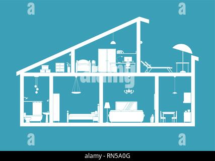 House blueprint - section view - Stock Photo