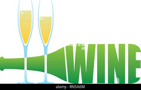 Wine Bottle and two glasses logo - Stock Photo