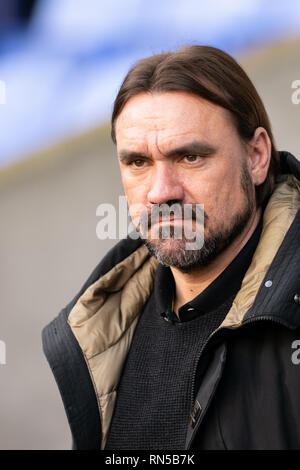 Norwich City manager Daniel Farke   16th February 2019, University of Bolton Stadium, Bolton, England; Sky Bet Championship, Bolton Wonderers vs Norwich City ;    Credit: Terry Donnelly /News Images  English Football League images are subject to DataCo Licence - Stock Photo