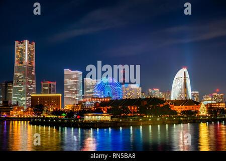 beautiful night view of city skyline MinatoMirai in Yokohama City, Kanagawa Prefecture, Japan - Stock Photo
