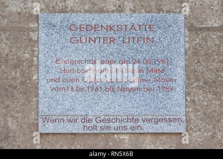 Memorial Günter Litfin, he was the first victim to be killed by East German border troops, the first to succumb to gunshot wounds - Stock Photo