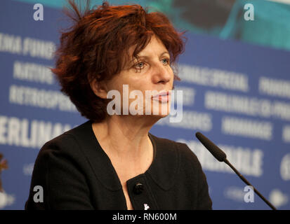 Berlin, Germany. 16th Feb 2019. Marie Balducchi, Glashütte Original - Documentary Award for the film Talking About Trees at the award winners press conference at the 69th Berlinale International Film Festival, on Saturday 16th February 2019, Hotel Grand Hyatt, Berlin, Germany. Credit: Doreen Kennedy/Alamy Live News - Stock Photo