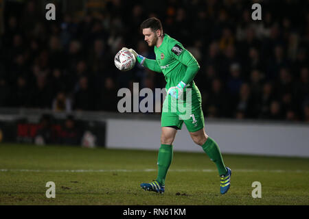 Newport, UK. 16th Feb 2019. Newport county goalkeeper Joe Day. The Emirates FA Cup, 5th round match, Newport county v Manchester City at Rodney Parade in Newport, South Wales on Saturday 16th February 2019.  this image may only be used for Editorial purposes. Editorial use only, license required for commercial use. No use in betting, games or a single club/league/player publications. pic by  Andrew Orchard/Andrew Orchard sports photography/Alamy Live news - Stock Photo