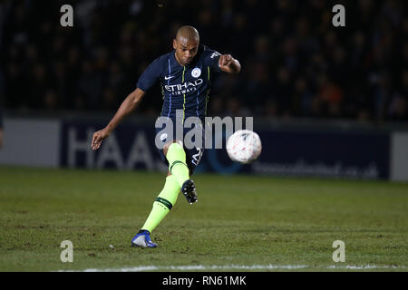 Newport, UK. 16th Feb 2019. Fernandinho of Manchester City in action. The Emirates FA Cup, 5th round match, Newport county v Manchester City at Rodney Parade in Newport, South Wales on Saturday 16th February 2019.  this image may only be used for Editorial purposes. Editorial use only, license required for commercial use. No use in betting, games or a single club/league/player publications. pic by  Andrew Orchard/Andrew Orchard sports photography/Alamy Live news - Stock Photo