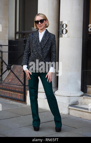 London, UK. 17th Feb, 2019. Street style seen at London Fashion Week. Guest arrives for the Vivienne Westwood AW19 show. Credit: Saira MacLeod/Alamy Live News  - Stock Photo