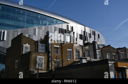 London, UK. 17th Feb, 2019.   A beautiful sunny day by the new Tottenham Hotspur Stadium in North London as it nears its completion with the football club hoping to play their first games there in the next few weeks Credit: Simon Dack/Alamy Live News - Stock Photo