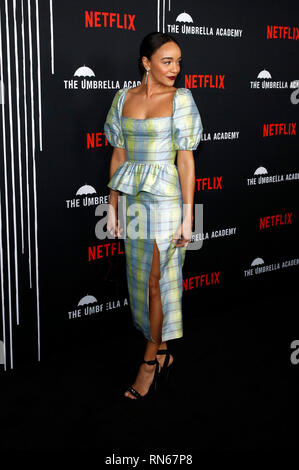 Los Angeles, USA. 13th Feb, 2019. Ashley Madekwe at the premiere of the Netflix TV series 'The Umbrella Academy' at ArcLight Hollywood. Los Angeles, 12.02.2019 Credit: dpa/Alamy Live News - Stock Photo