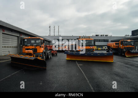 February 15, 2019 - Krakow, Poland - Snow cleaners are seen at Krakow John Paul II International Airport. (Credit Image: © Omar Marques/SOPA Images via ZUMA Wire) - Stock Photo