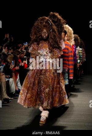 London, UK. 17th Feb, 2019. Models walk the runway at the Ashish show during the London Fashion Week 2019 in London, UK, on Feb. 17, 2019. Credit: Han Yan/Xinhua/Alamy Live News - Stock Photo