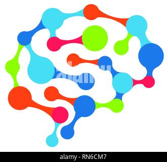 Brain network with colorful connected dots - Stock Photo