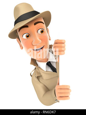 3d detective peeping over blank wall, illustration with isolated white background - Stock Photo