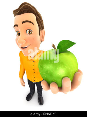 3d man holding green apple, illustration with isolated white background - Stock Photo