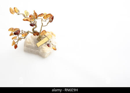 Tree made of amber - beautiful jewelry from Poland - Stock Photo