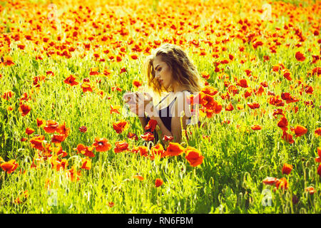 girl in field of poppy making selfie photo with phone - Stock Photo