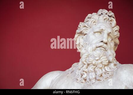 VATICAN - FEBRUARY 23, 2015: Ancient bust of Zeus in the Vatican Museum in Rome, Italy - Stock Photo
