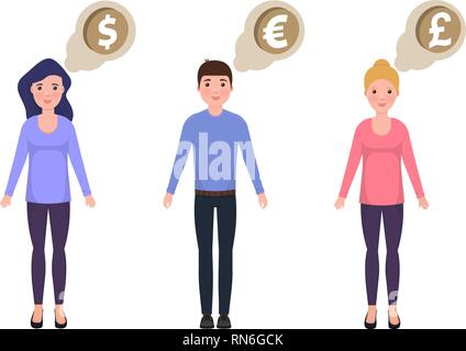 People think about money, dollar, euro, pounds sterling, happy characters in a cute style - Stock Photo