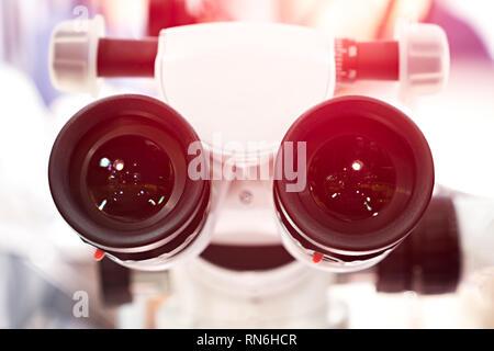 eyepieces of the microscope. photo - Stock Photo