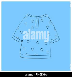 Shirt in peas Linear elements Russian national costume. Fair attributes coloring book or printing clothes. Educational cards or greeting cards. Vector - Stock Photo